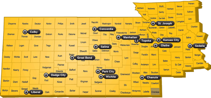 Chanute Kansas Map.Caterpillar Equipment Kansas And Missouri Foley Equipment