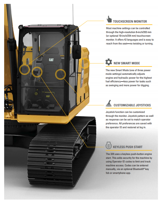 Cat 320 Cab Features