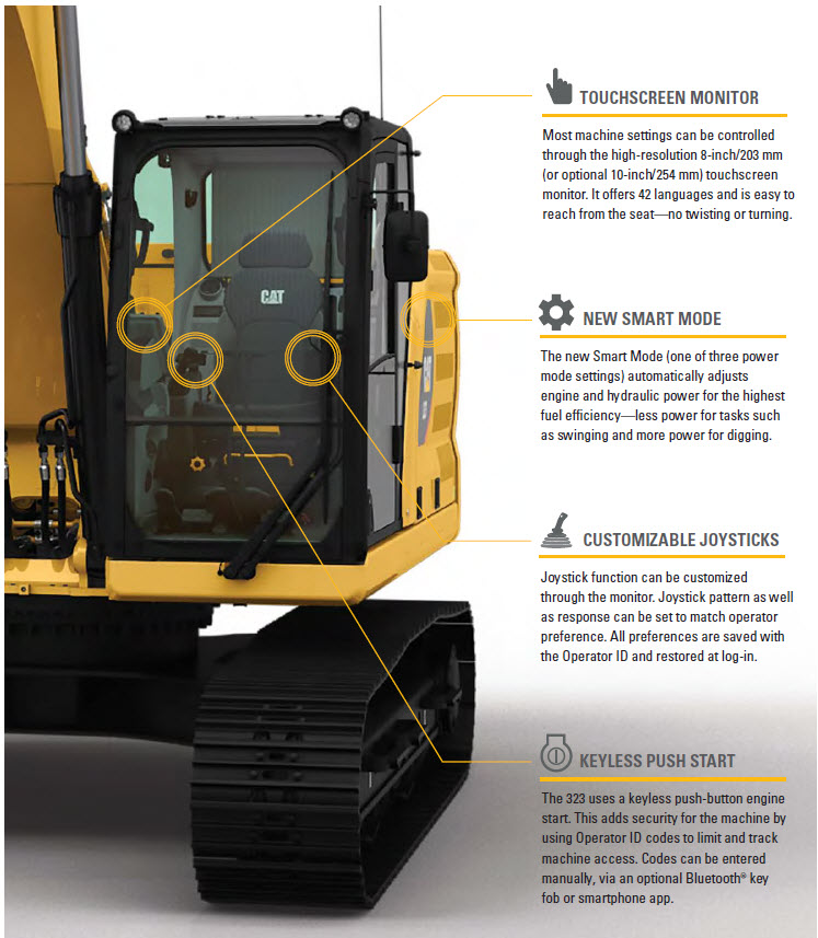 Cat 323 Cab Features